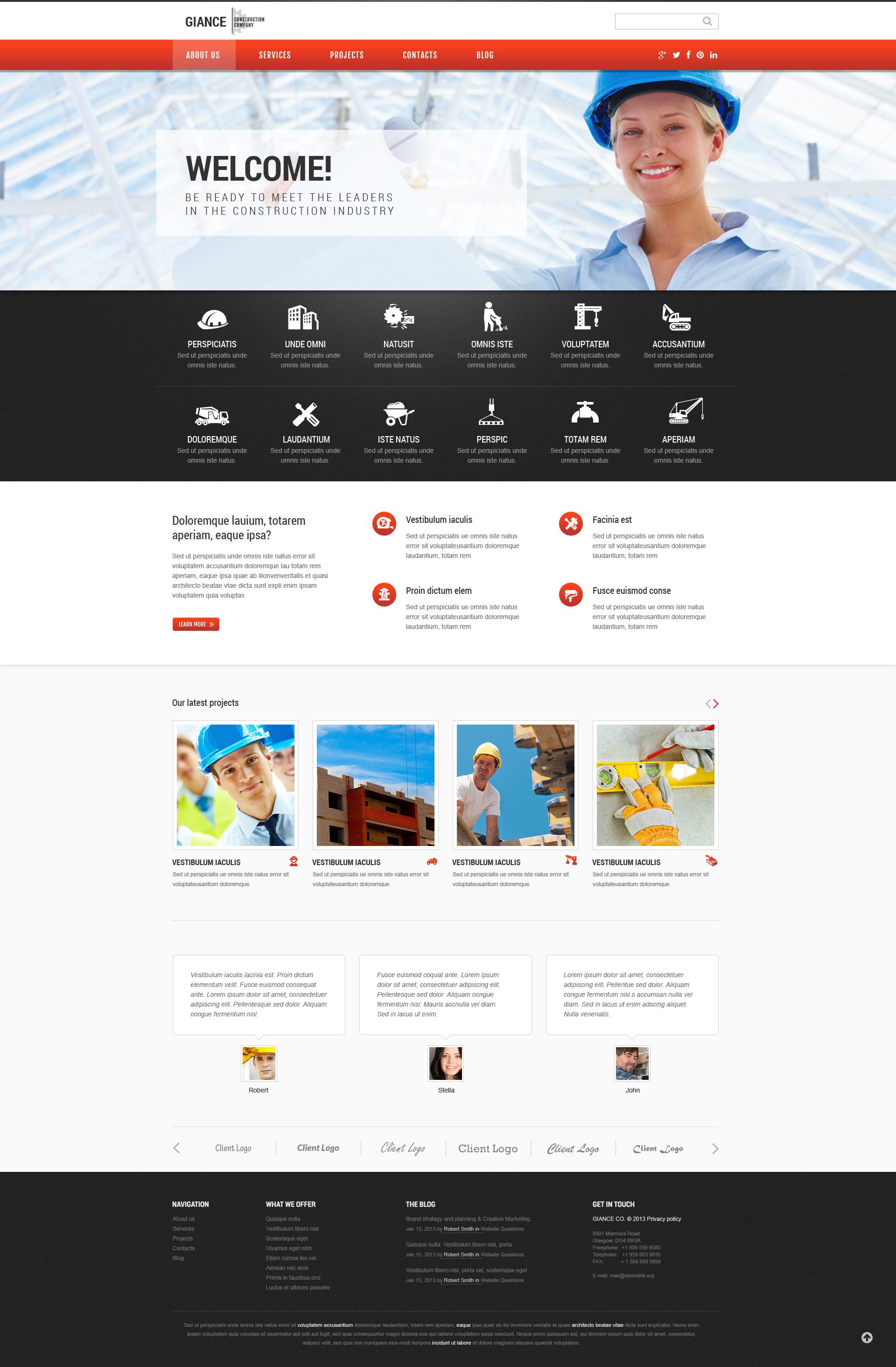 "Modello WordPress Responsive #46544 ""Effective Construction"" - screenshot"