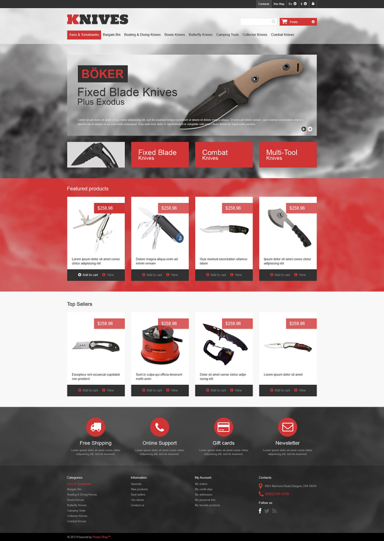 Multi-Purpose Knives PrestaShop Theme New Screenshots BIG