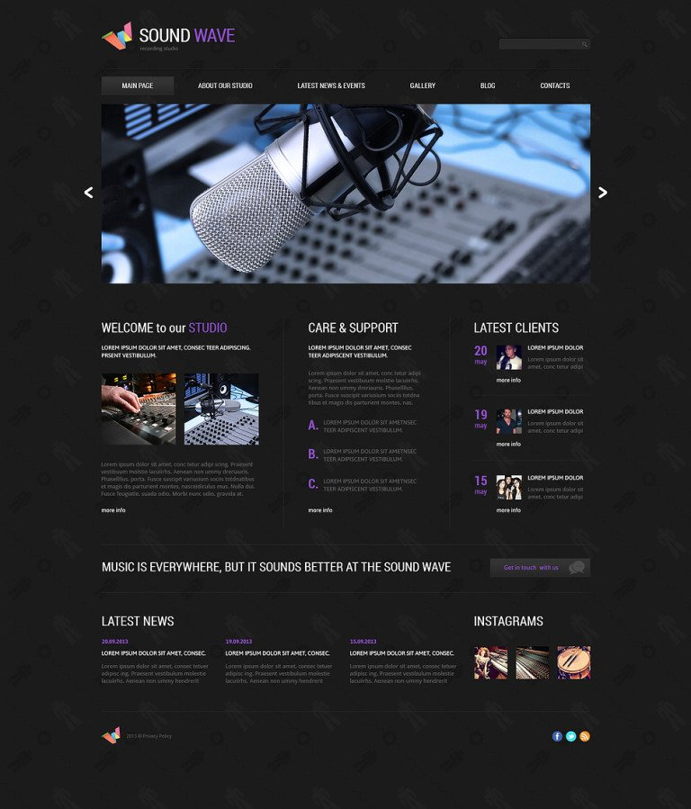 Recording Studio Responsive Joomla Template New Screenshots BIG