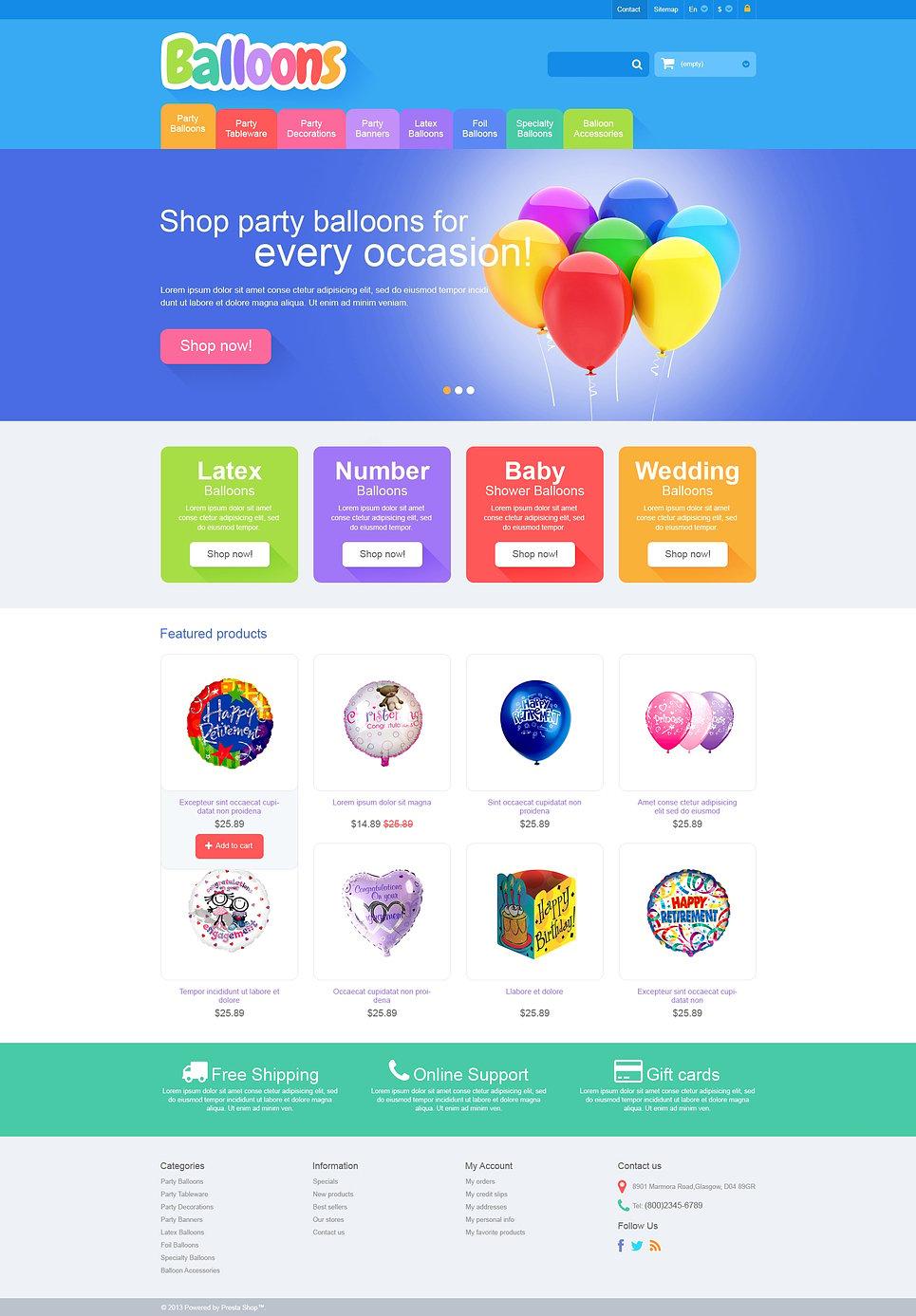 responsive balloons store prestashop theme 46523