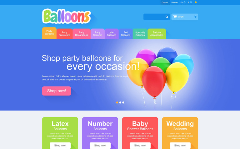 Responsive Balloons Store PrestaShop Theme