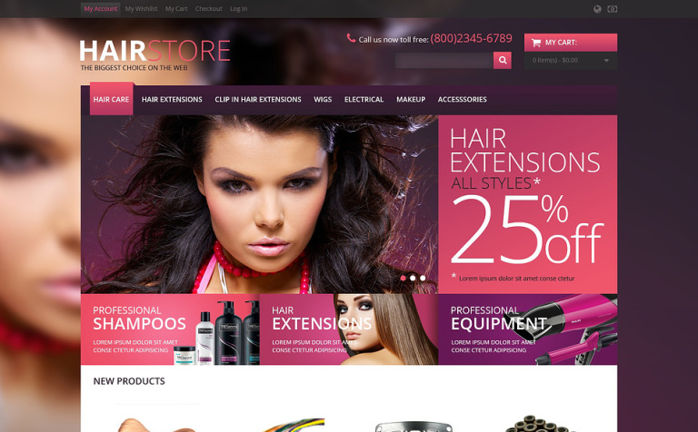 Responsive Hair Store Magento Theme