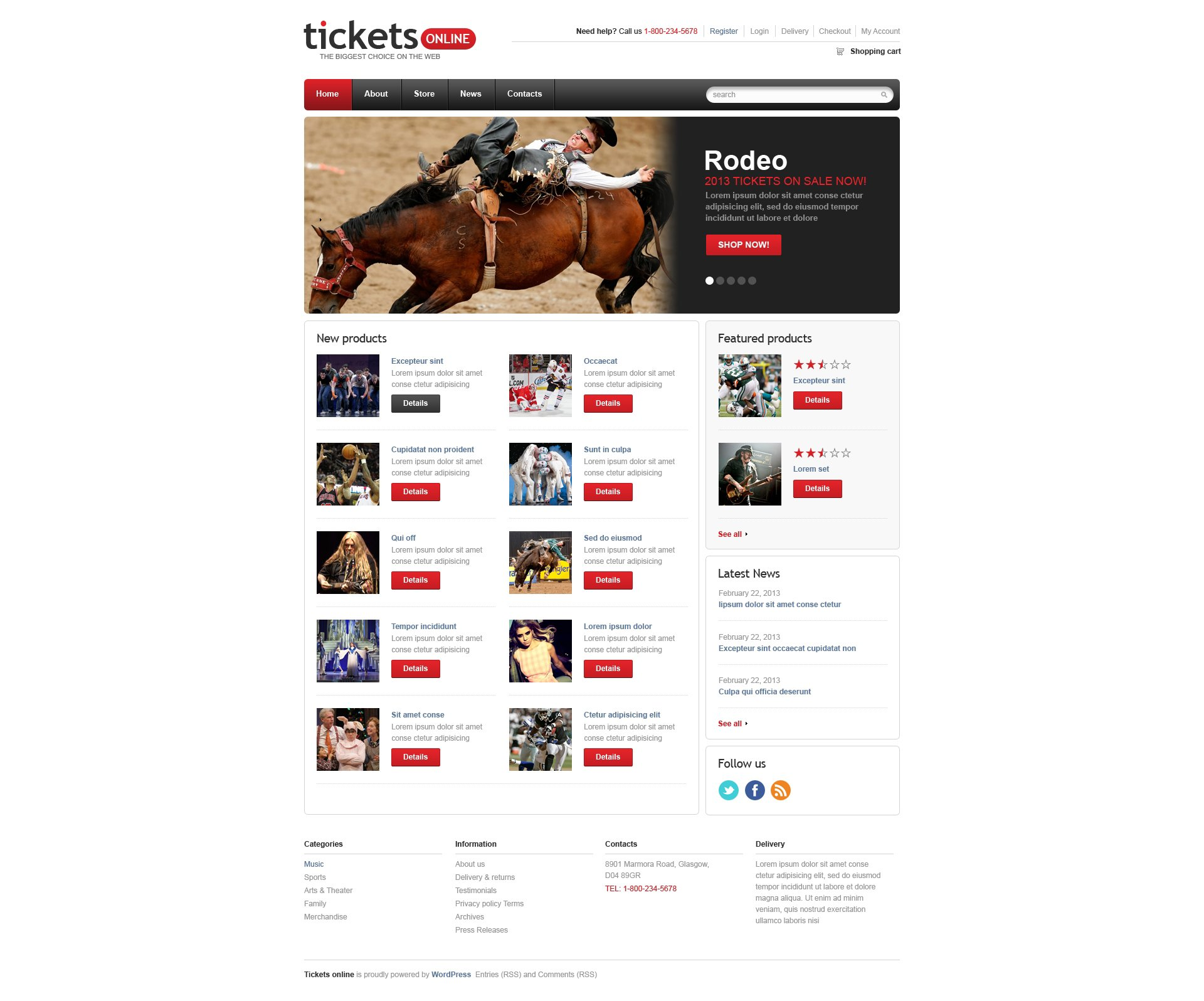 Responsive Tickets Store WooCommerce Theme