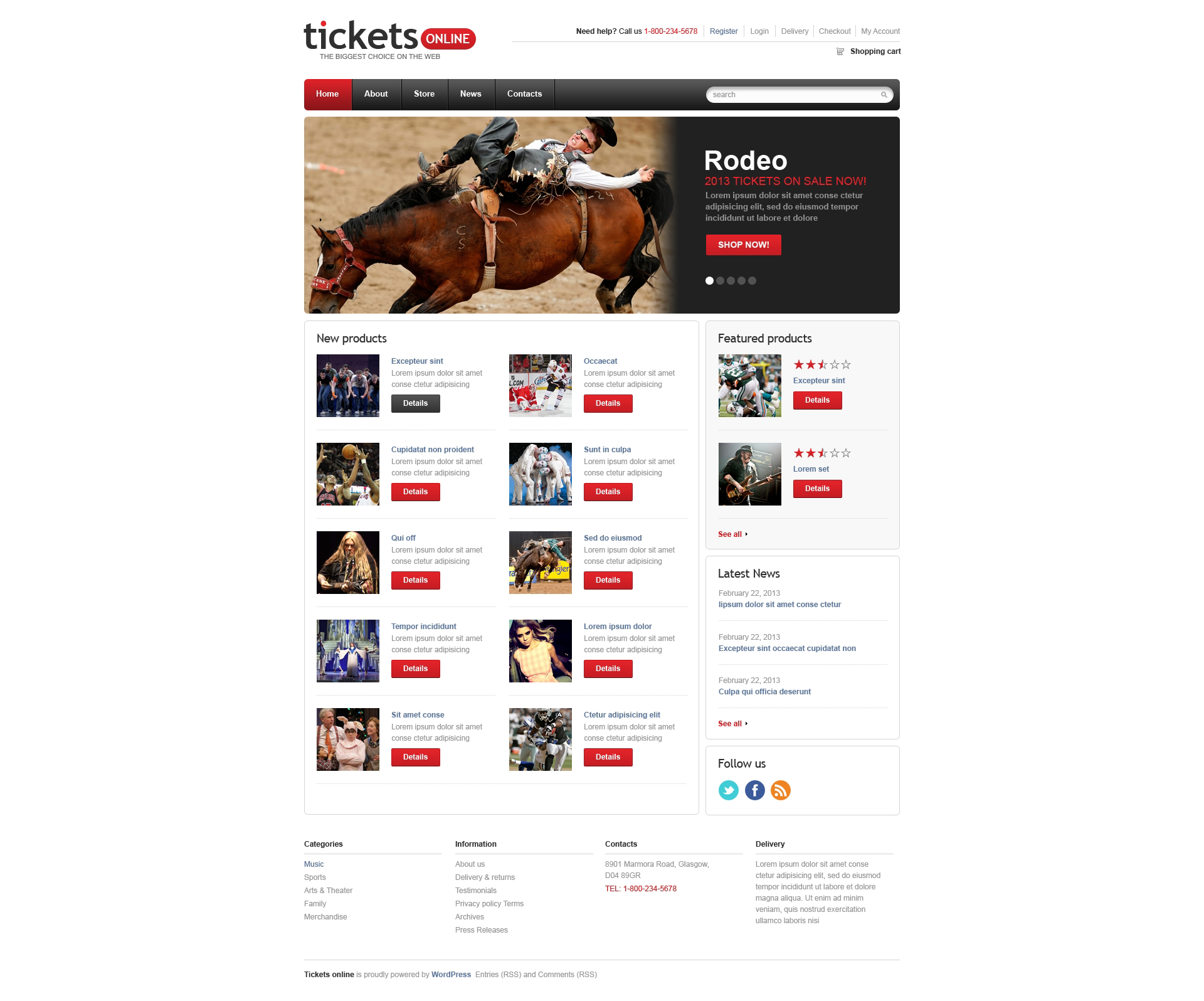 """Responsive Tickets Store"" 响应式WooCommerce模板 #46551 - 截图"