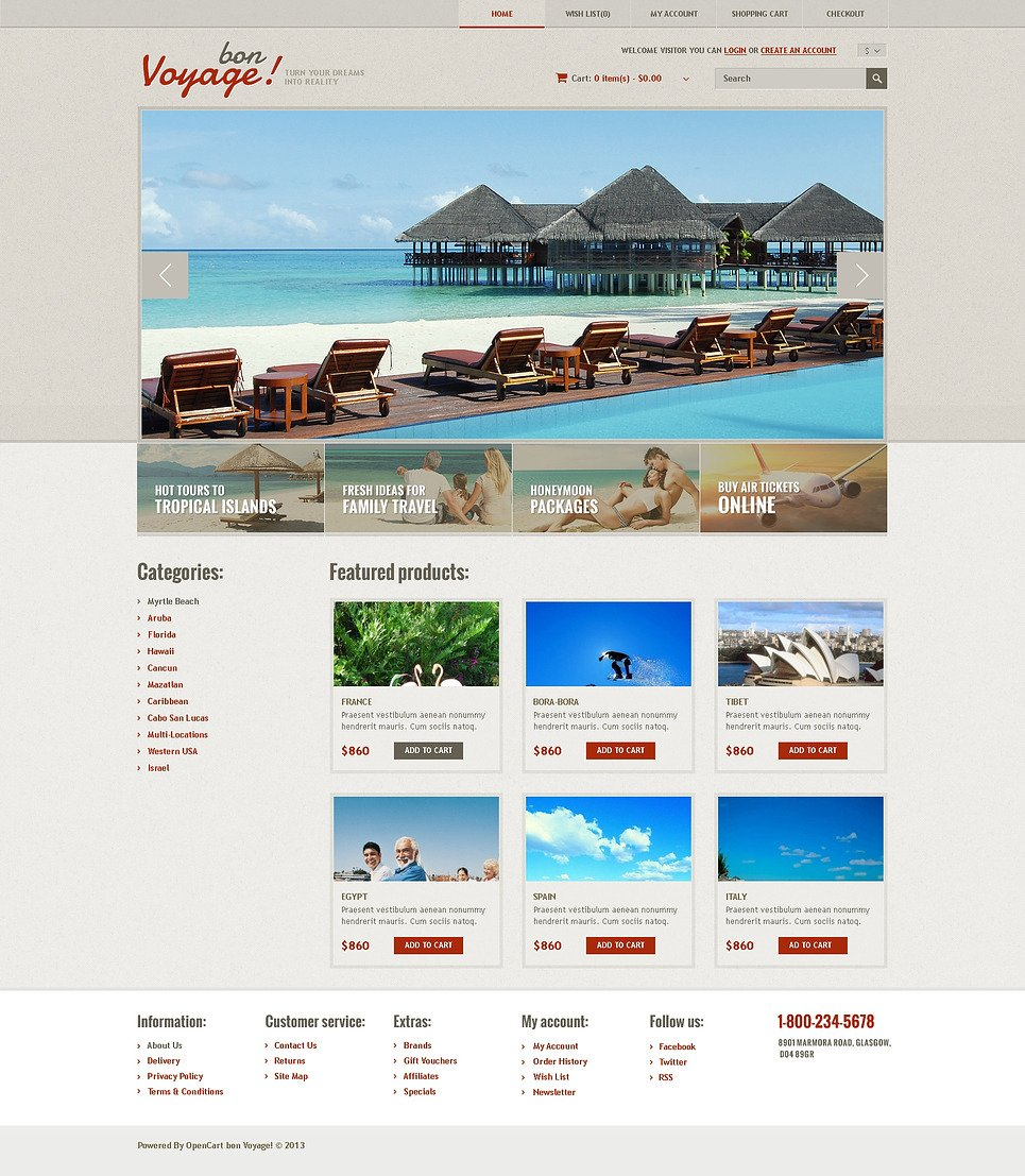 Responsive Travel Store OpenCart Template New Screenshots BIG