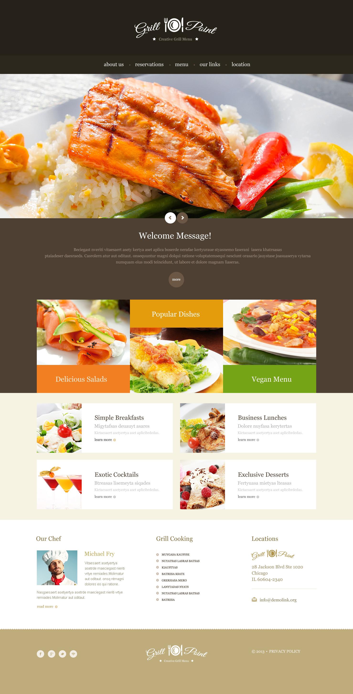 Responsive Website template over BBQ restaurant №46543