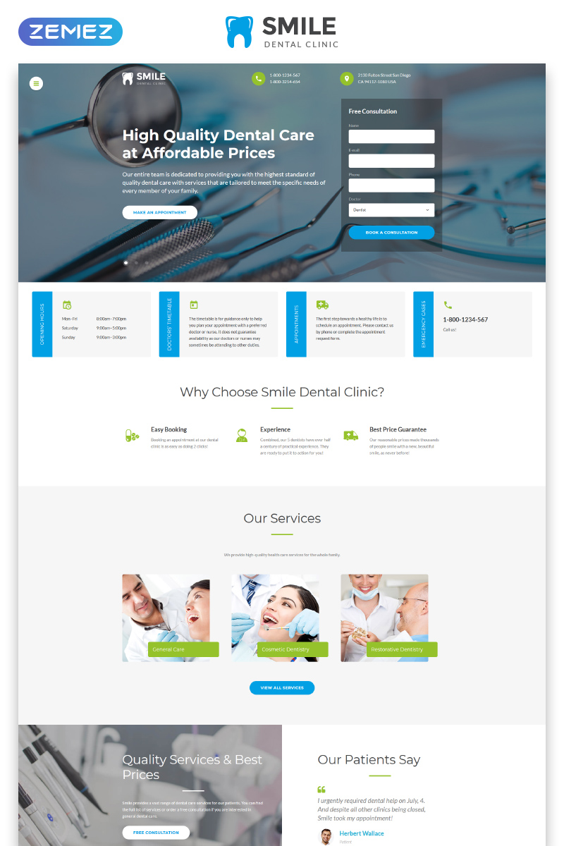 Responsywny szablon strony www Smile - Dentistry Responsive Multipage HTML #46574