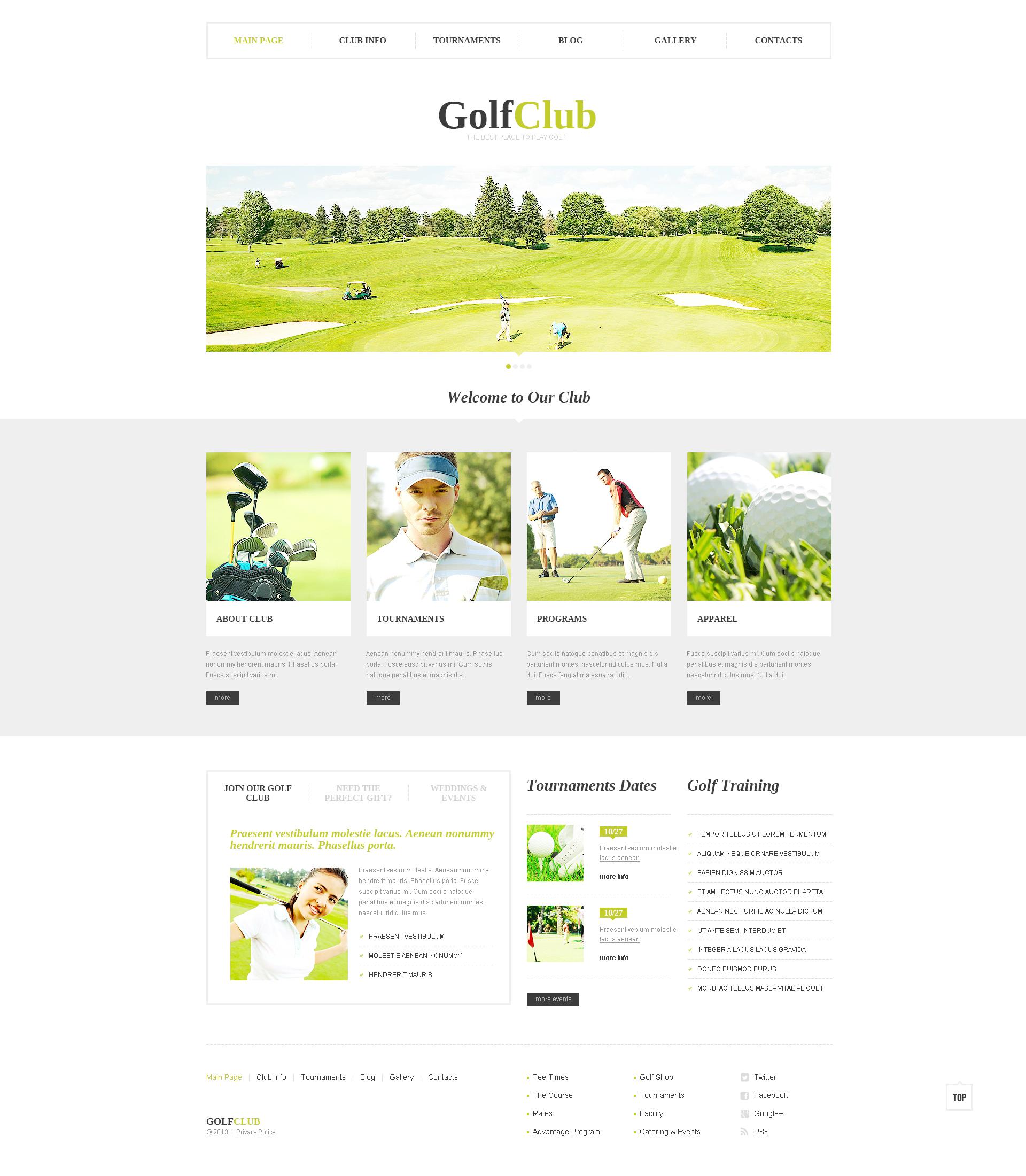 Reszponzív Golf Club WordPress sablon 46546 - képernyőkép