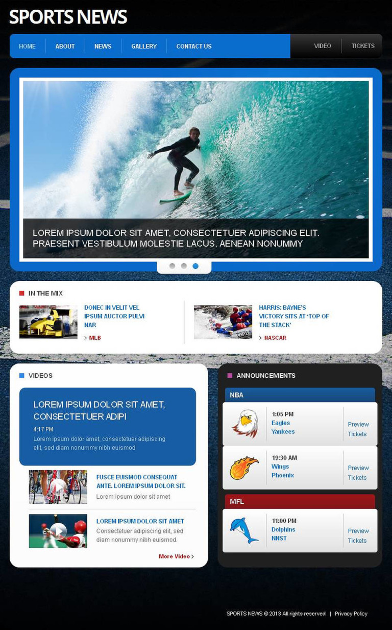 Sports News Facebook HTML CMS Template New Screenshots BIG