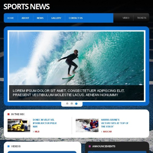 Sports News - Facebook HTML CMS Template