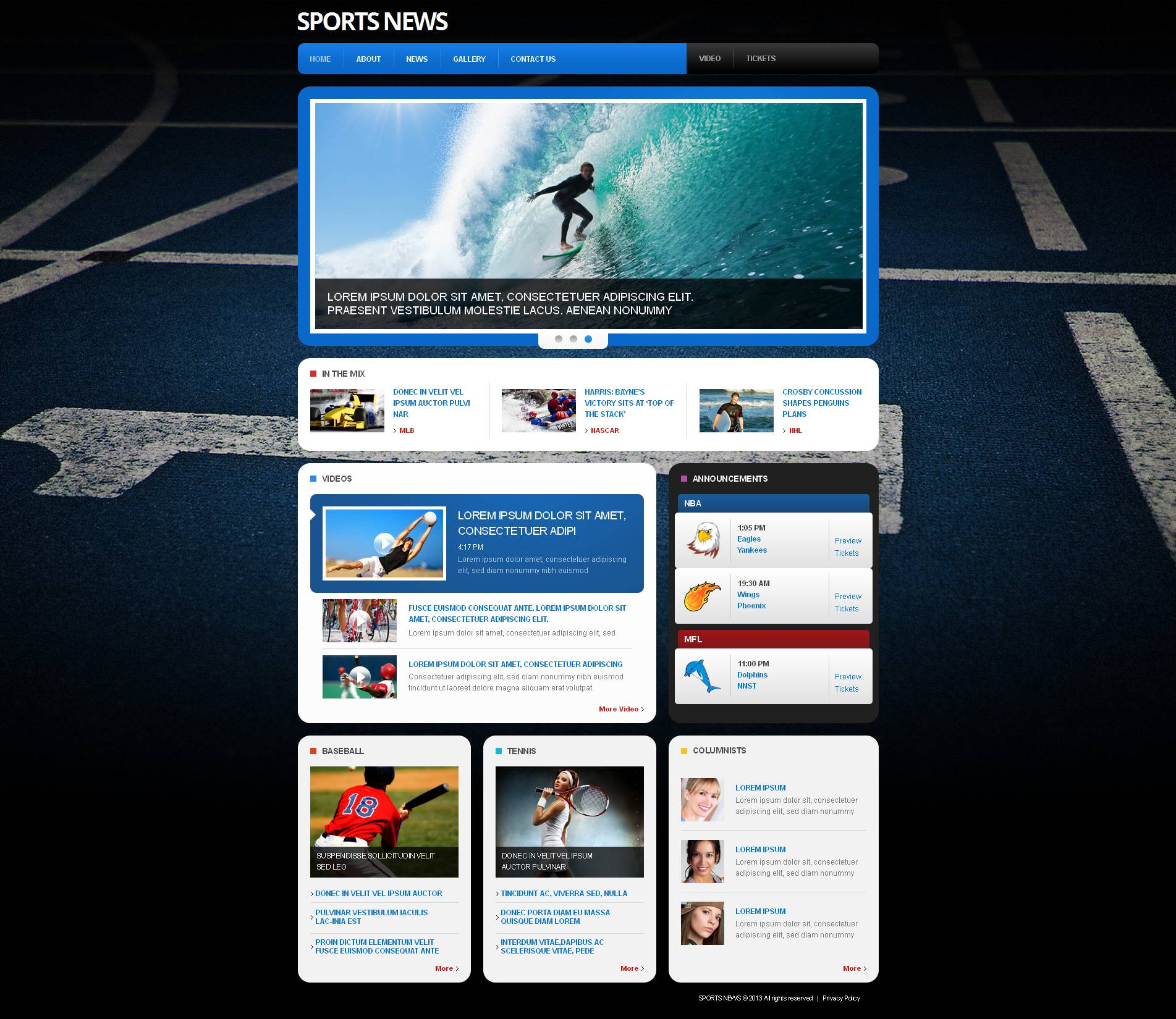Sports news moto cms html template