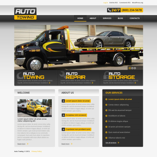 Auto Towing - WordPress Template based on Bootstrap