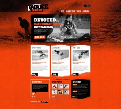 Szablon Moto CMS HTML #46598 na temat: wakeboarding