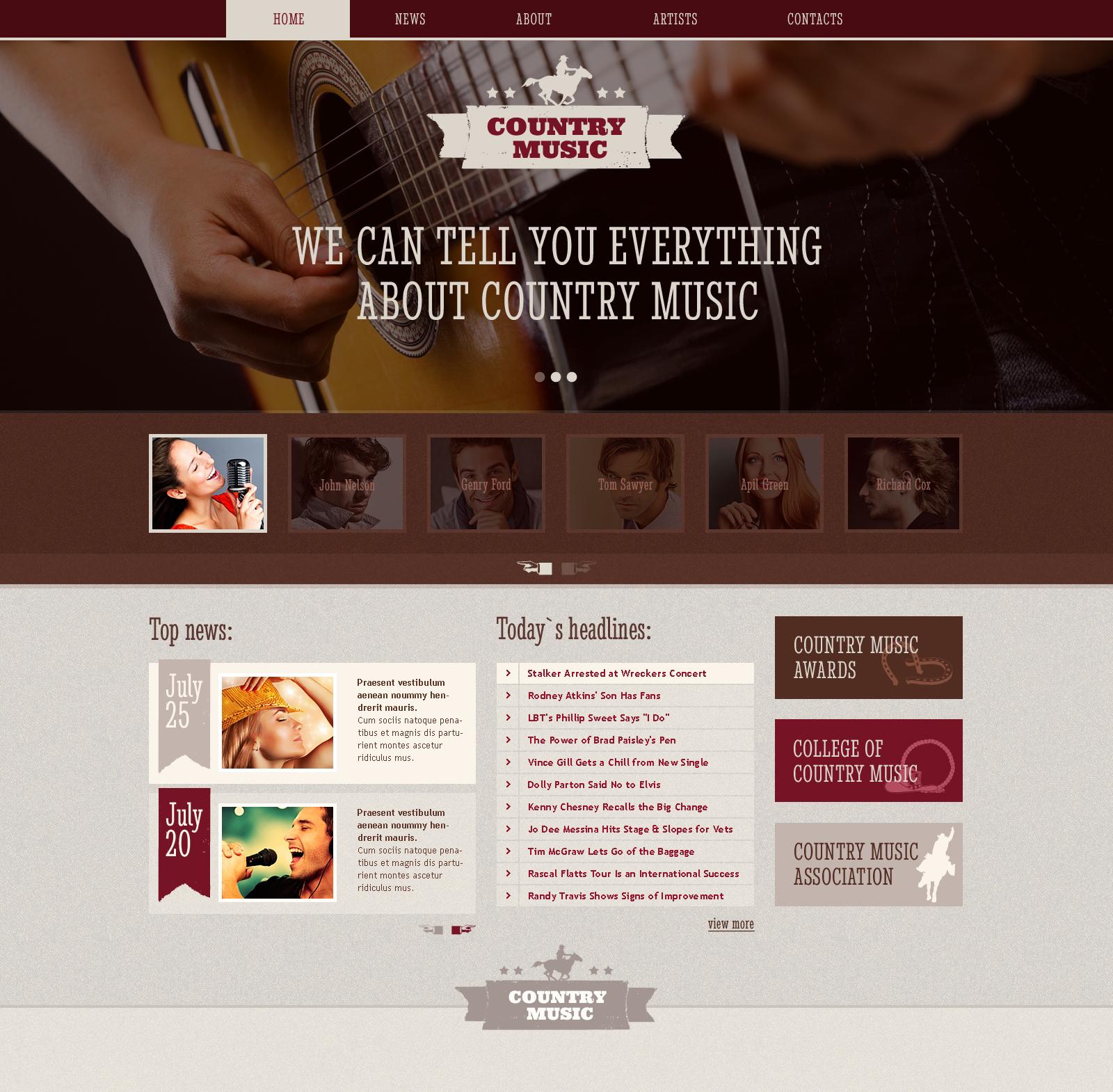 Template Web Flexível para Sites de Blod de música №46515 - captura de tela