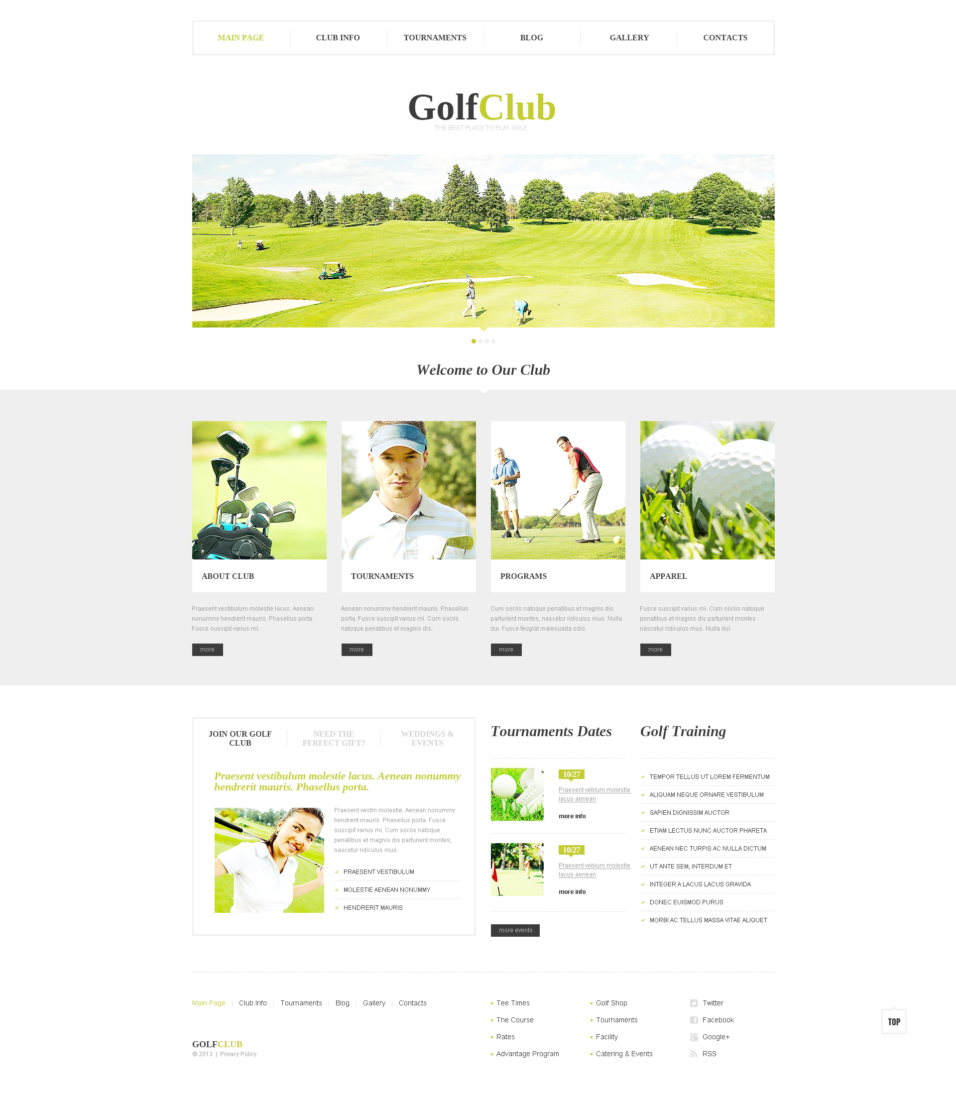 "Template WordPress Responsive #46546 ""Club di golf"" - screenshot"
