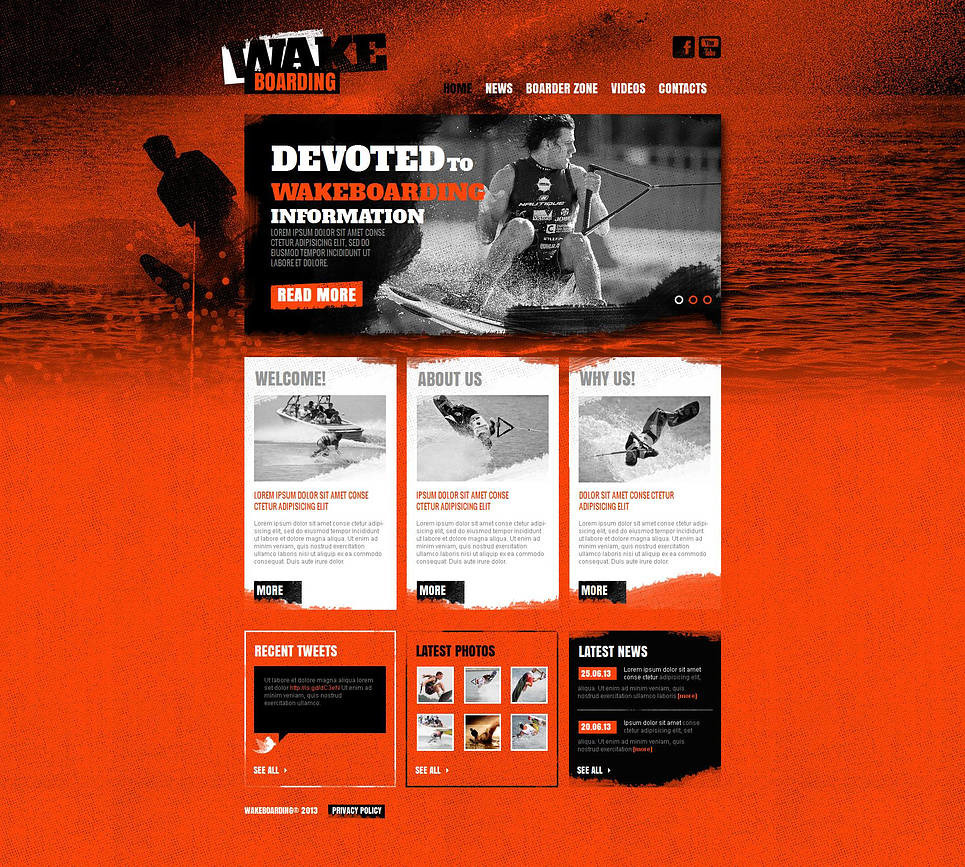 Wakeboarding Moto CMS HTML Template New Screenshots BIG