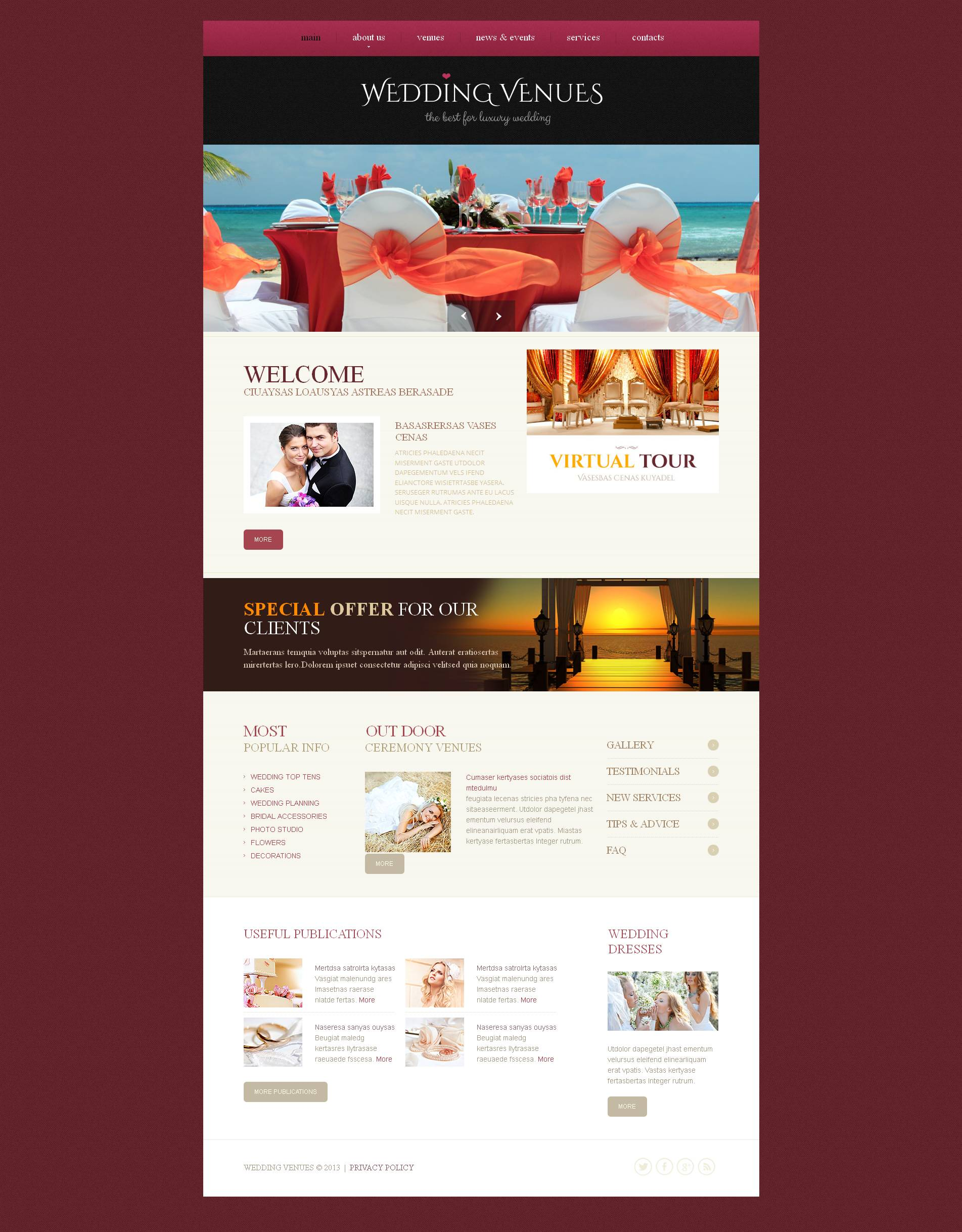 Wedding Venues Moto CMS HTML Template