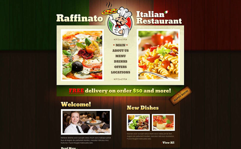 Template Flash CMS para Sites de Restaurante Italiano №46659 New Screenshots BIG