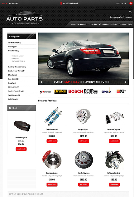 ZenCart Template 46688 Main Page Screenshot