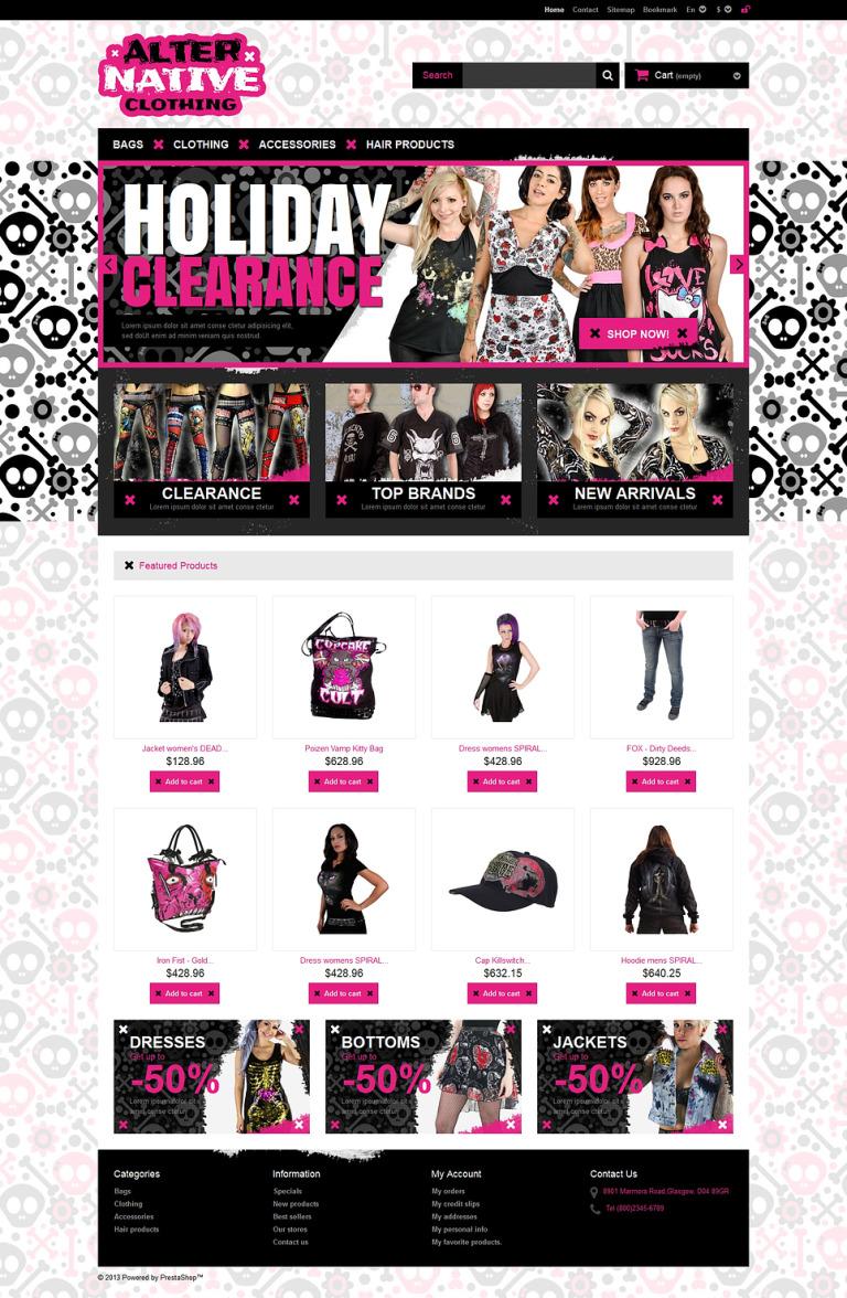 Alternative Clothing Store PrestaShop Theme New Screenshots BIG