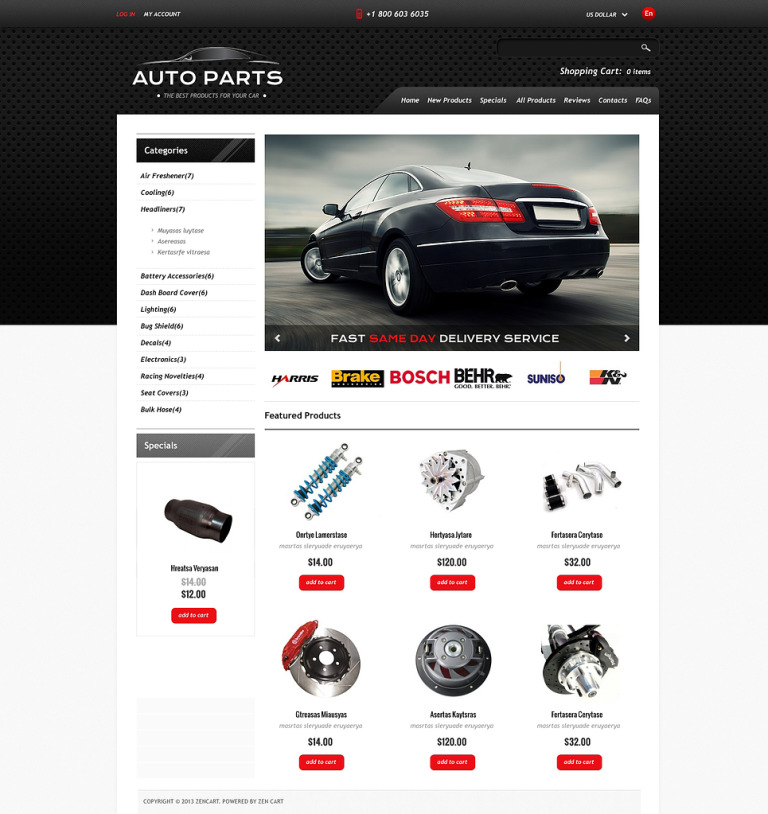Auto Parts ZenCart Template New Screenshots BIG