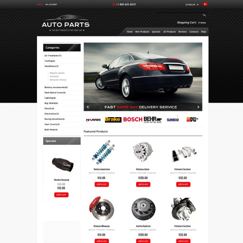 Auto Parts - HTML5 ZenCart Template
