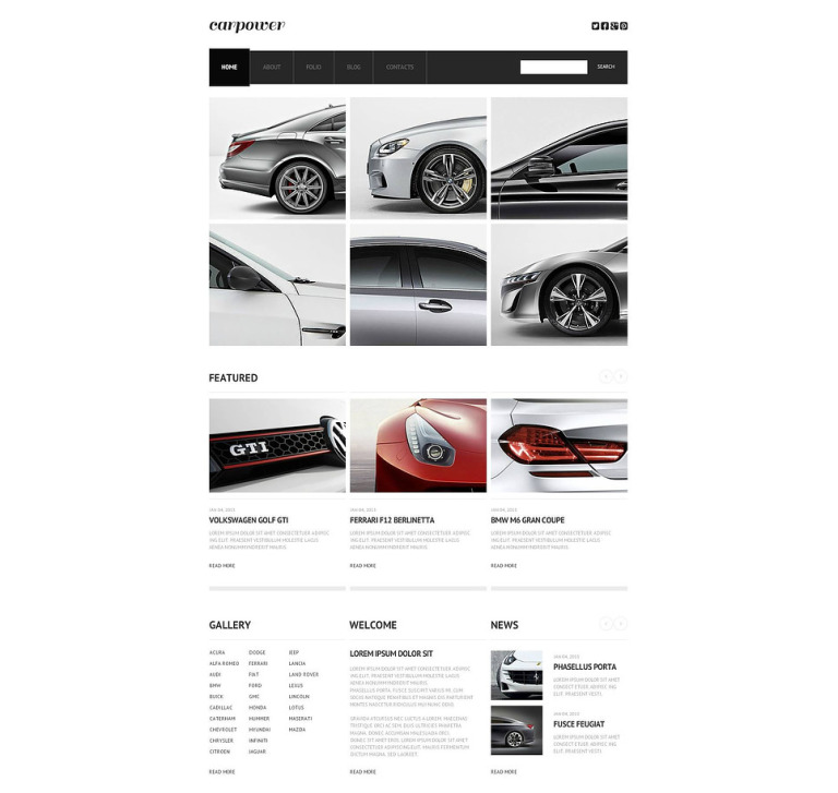 Car Club Flash CMS Template New Screenshots BIG
