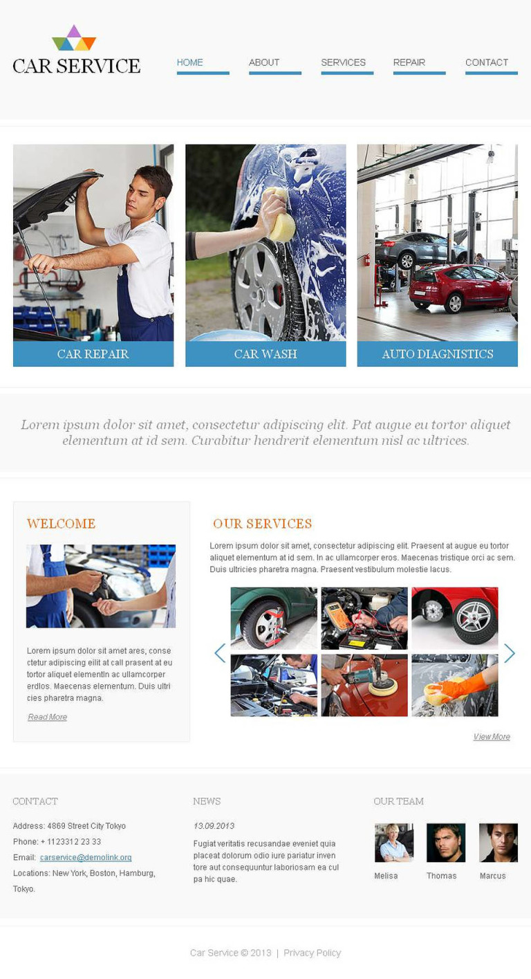 Car Wash Facebook HTML CMS Template New Screenshots BIG
