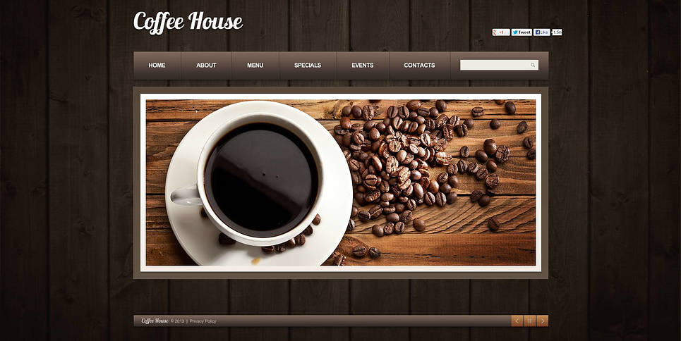coffee shop flash cms template 46666. Black Bedroom Furniture Sets. Home Design Ideas