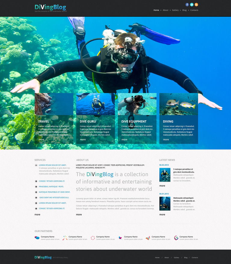Diving Responsive Joomla Template New Screenshots BIG