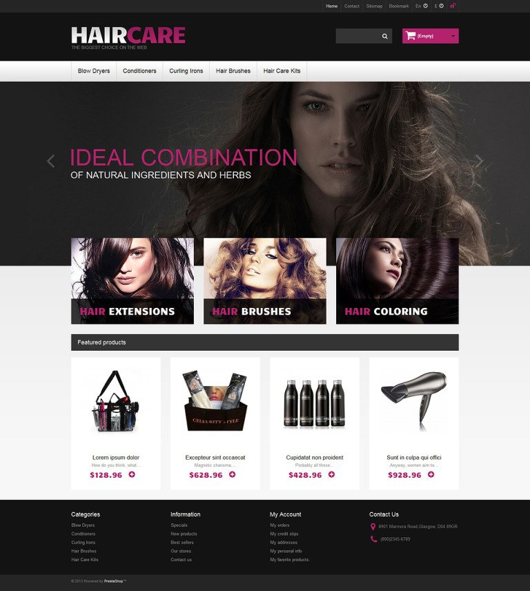 Ideal Hair PrestaShop Theme New Screenshots BIG