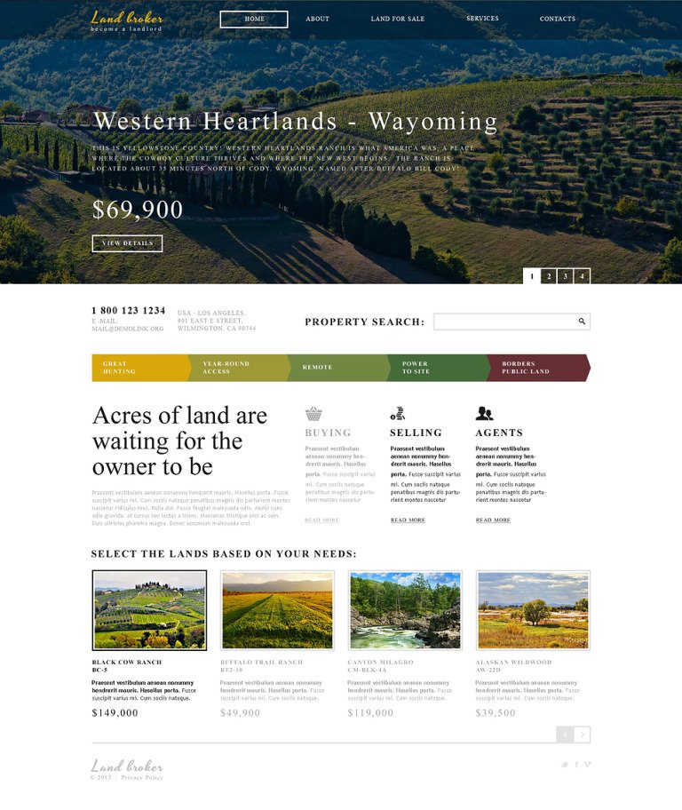 Land Broker Responsive Website Template New Screenshots BIG