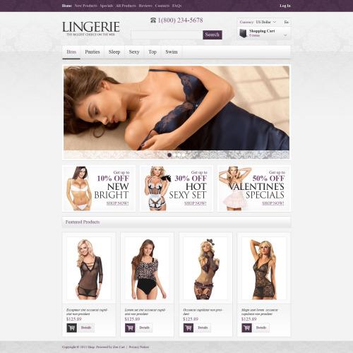 Lingerie - HTML5 ZenCart Template