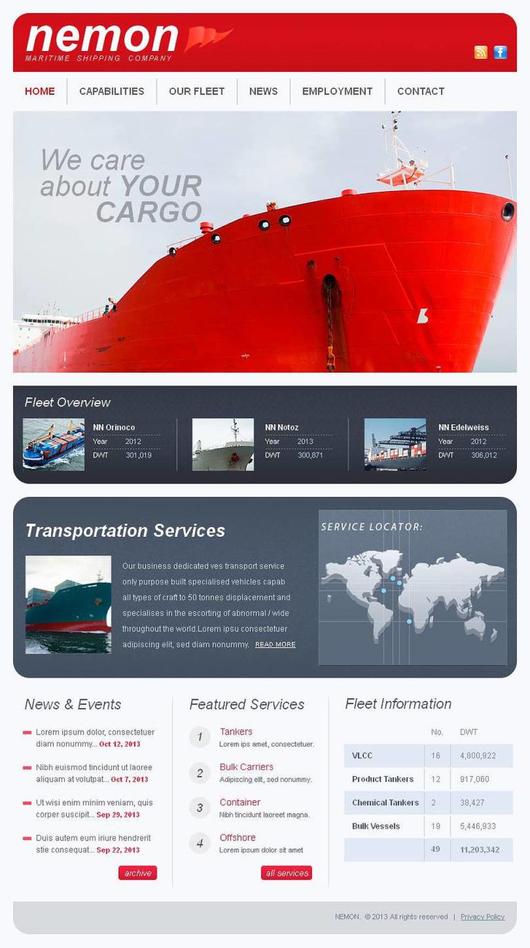 Maritime Facebook HTML CMS Template New Screenshots BIG