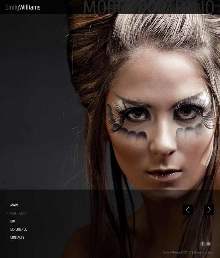Model Portfolio Facebook HTML CMS Template New Screenshots BIG