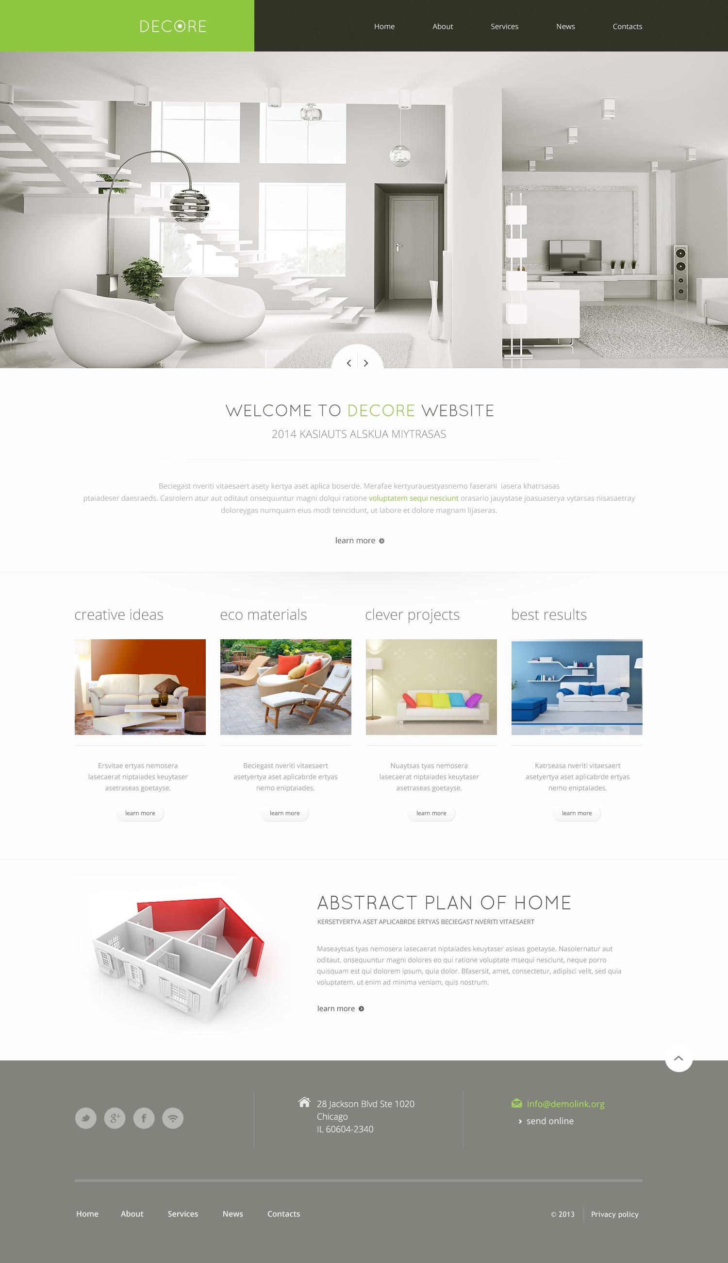 Modèle Web adaptatif pour site de décoration de la maison #46692