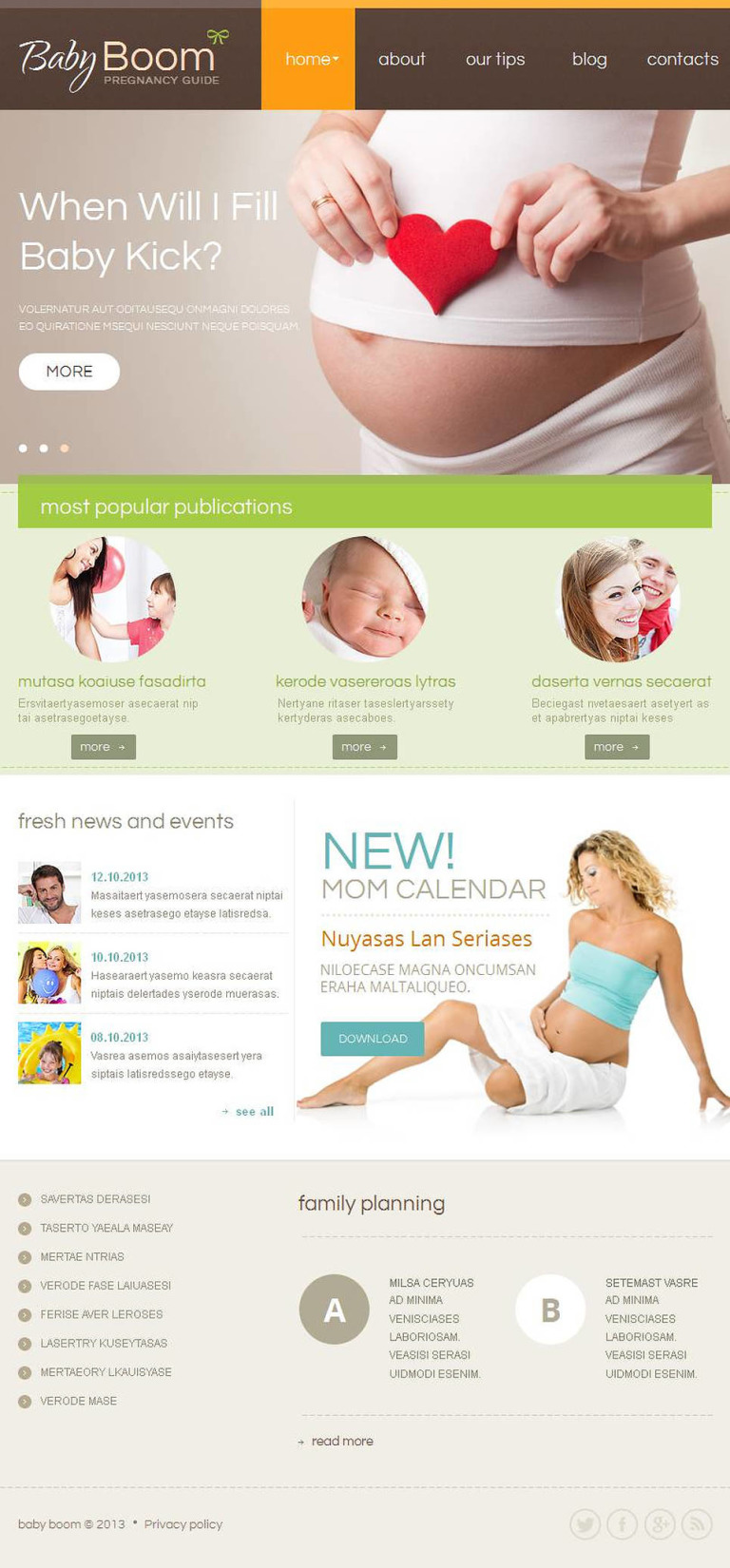 Pregnancy Facebook HTML CMS Template New Screenshots BIG