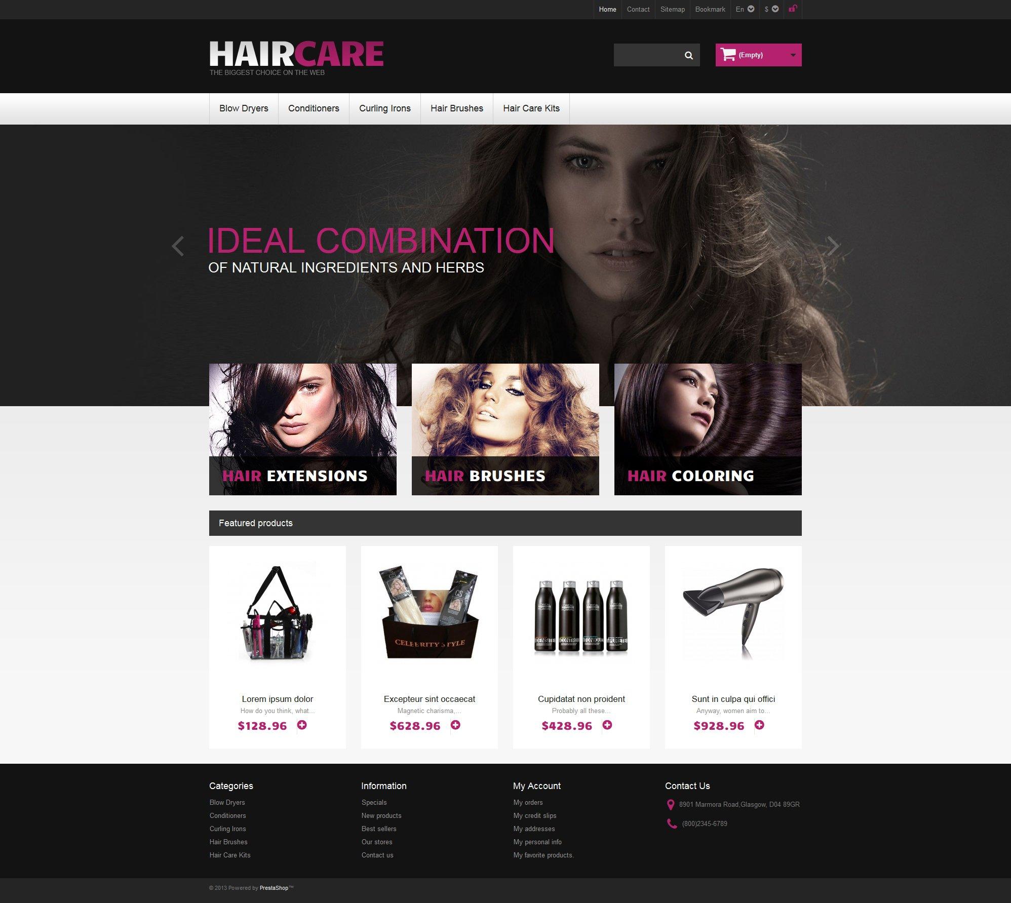 "PrestaShop Theme namens ""Ideal Hair"" #46632 - Screenshot"