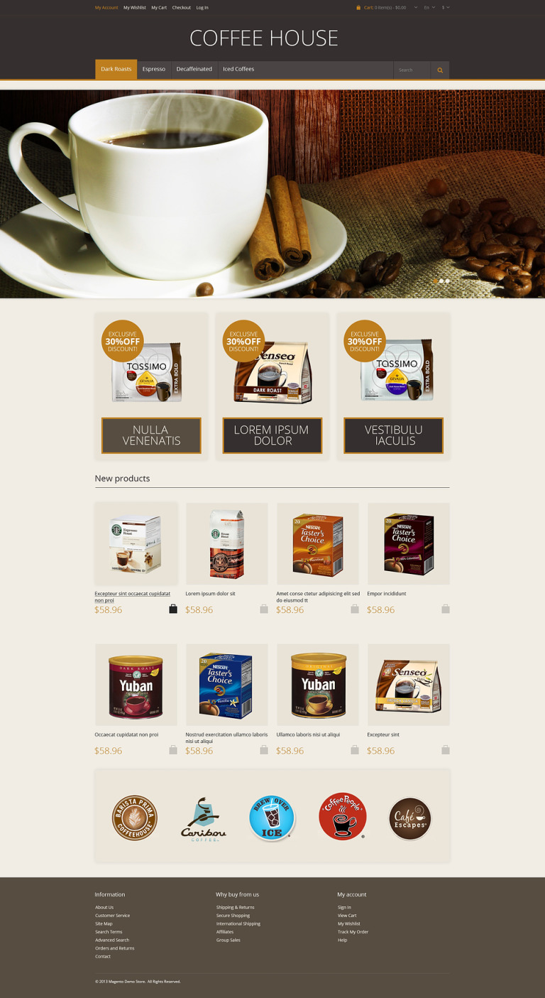 Responsive Coffee House Magento Theme New Screenshots BIG