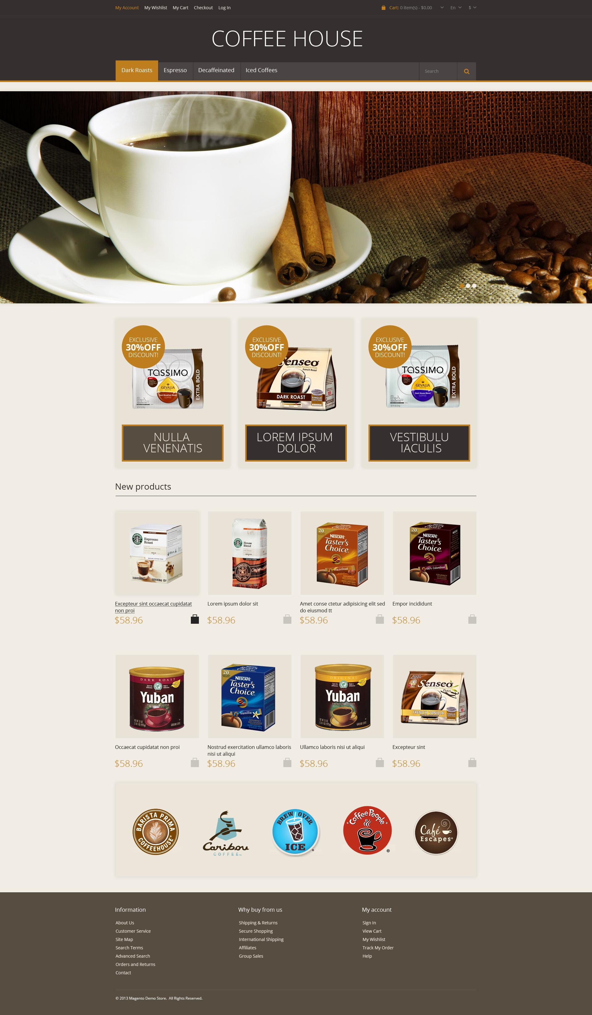 Responsive Coffee House Tema Magento №46696 - screenshot