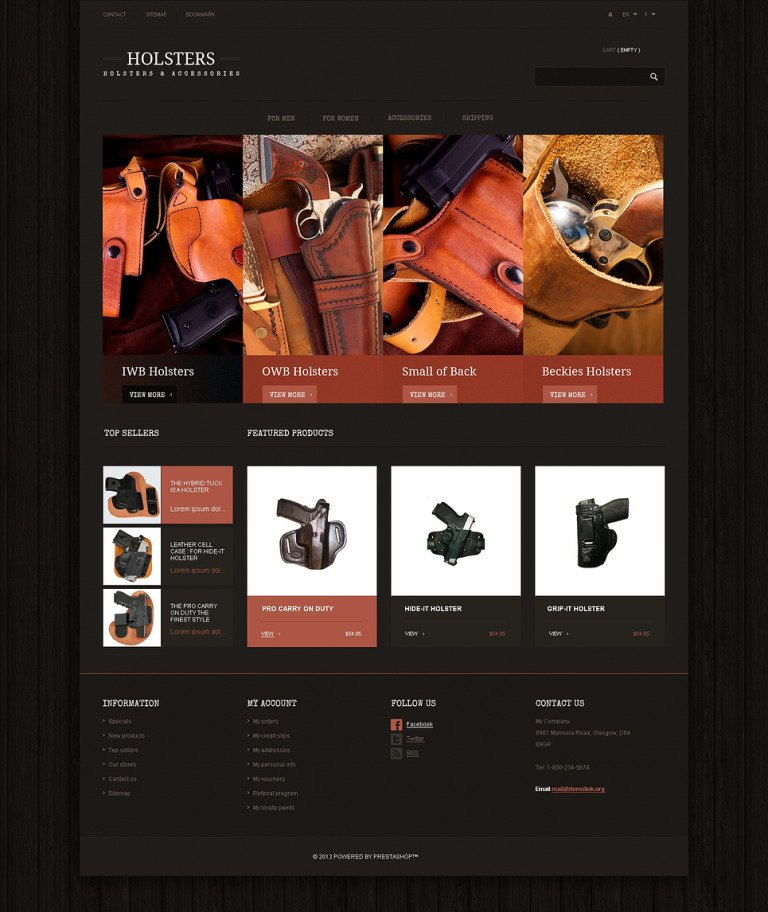 Responsive Holsters Store PrestaShop Theme New Screenshots BIG