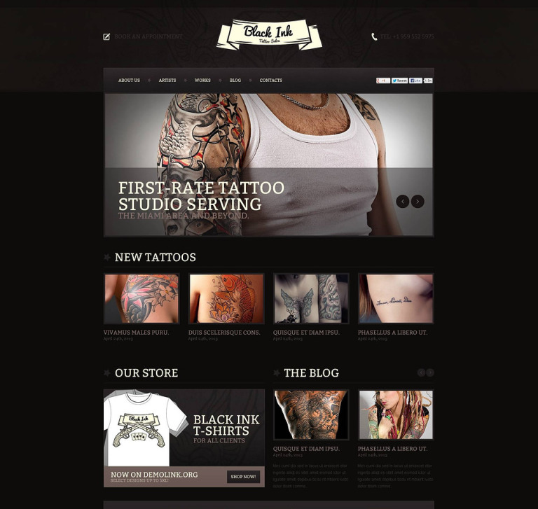 Tattoo Salon Flash CMS Template New Screenshots BIG
