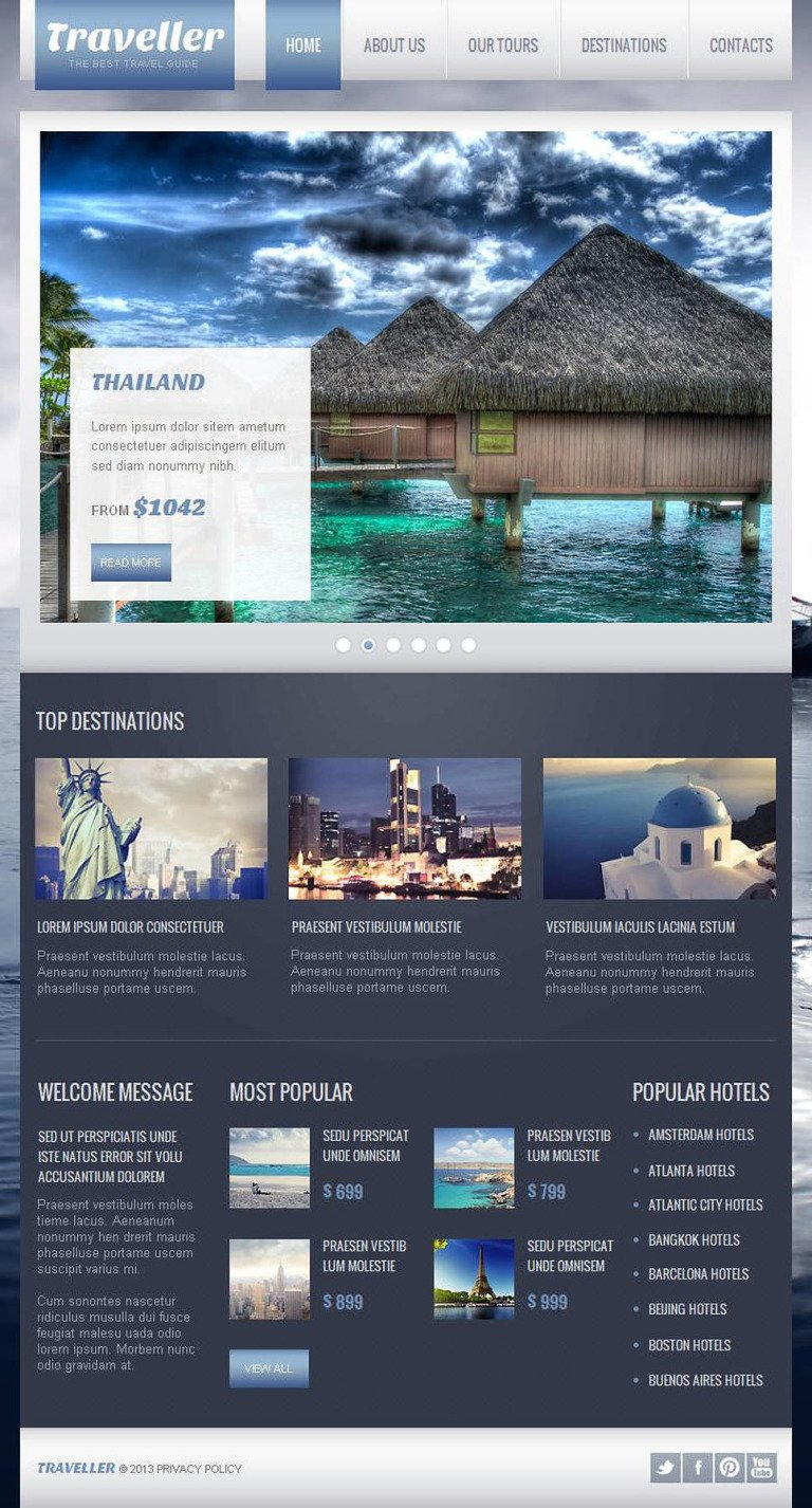 Travel Guide Facebook HTML CMS Template New Screenshots BIG