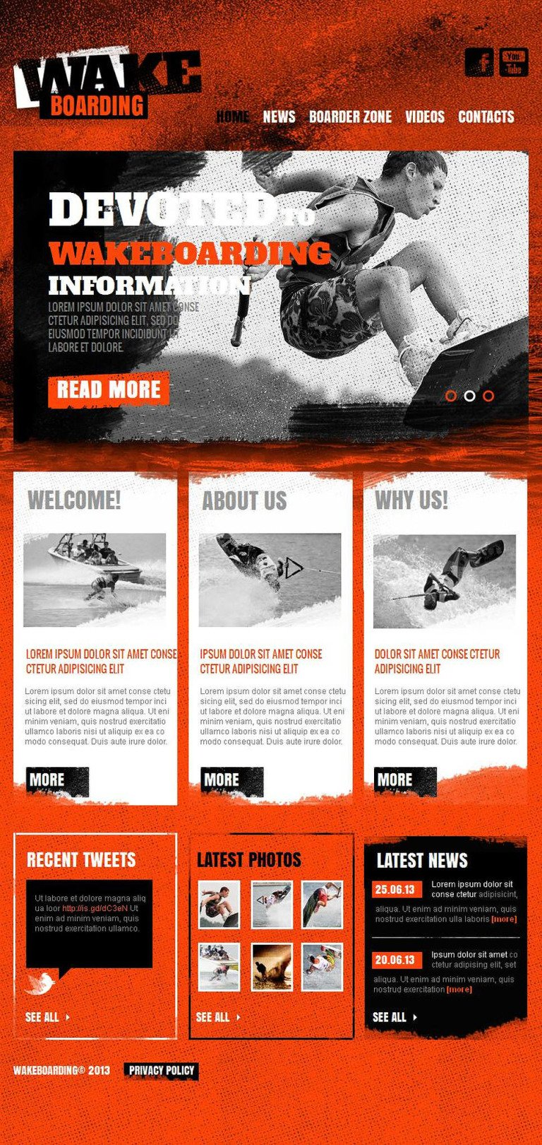 Wakeboarding Facebook HTML CMS Template New Screenshots BIG