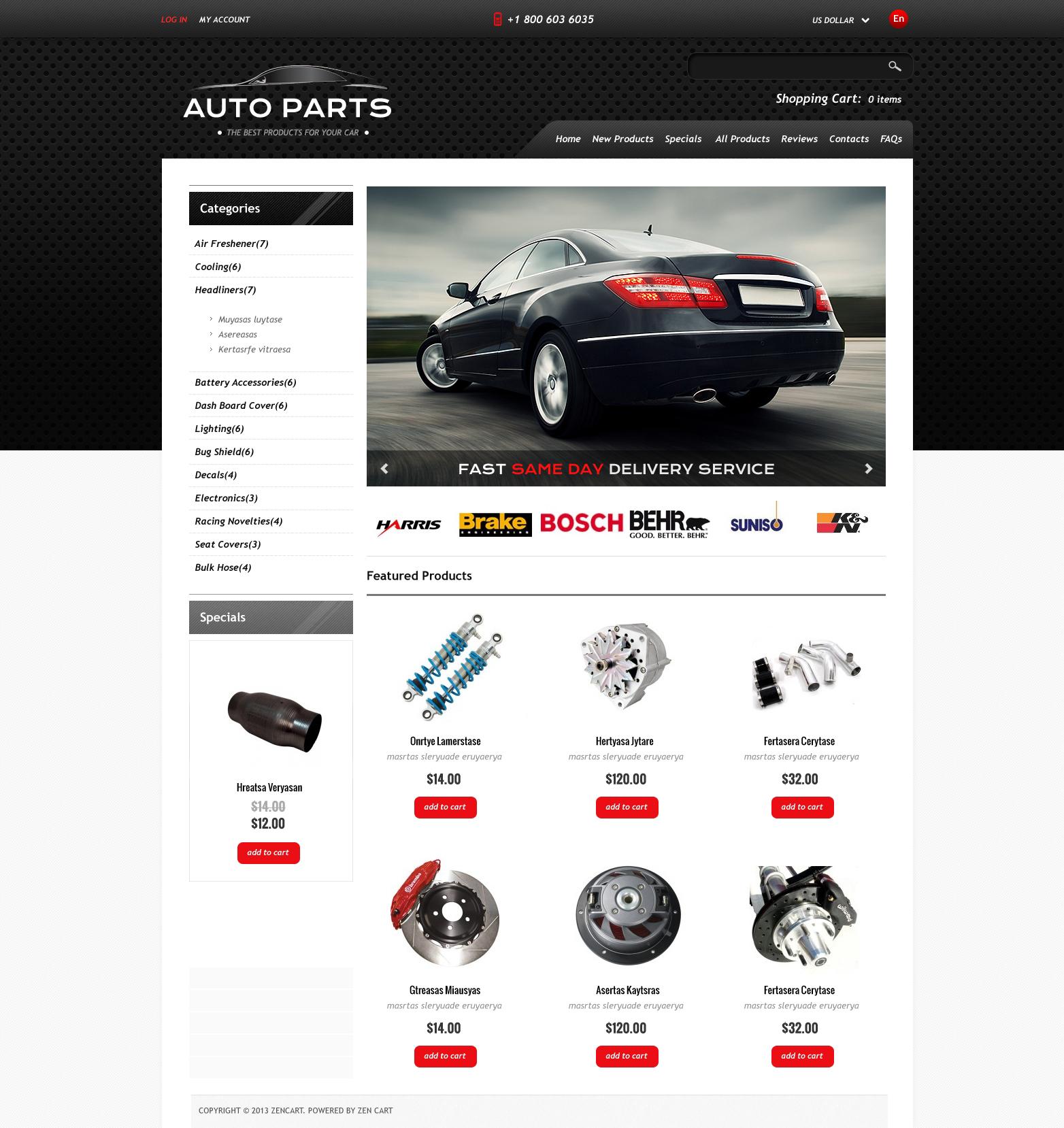 ZenCart Vorlage für Autoteile #46688