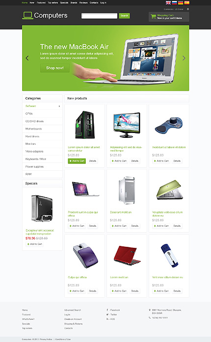 osCommerce Template 46701 Main Page Screenshot