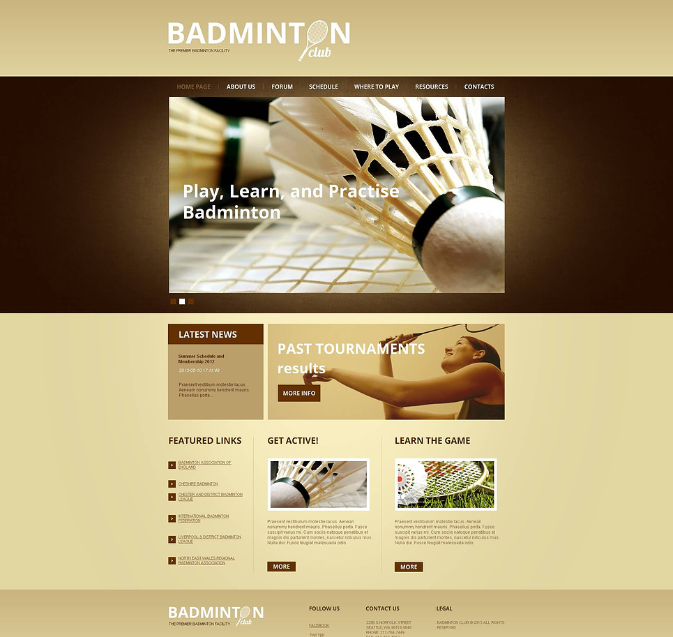 Badminton Club Website Template Done in Pastel Colors - image