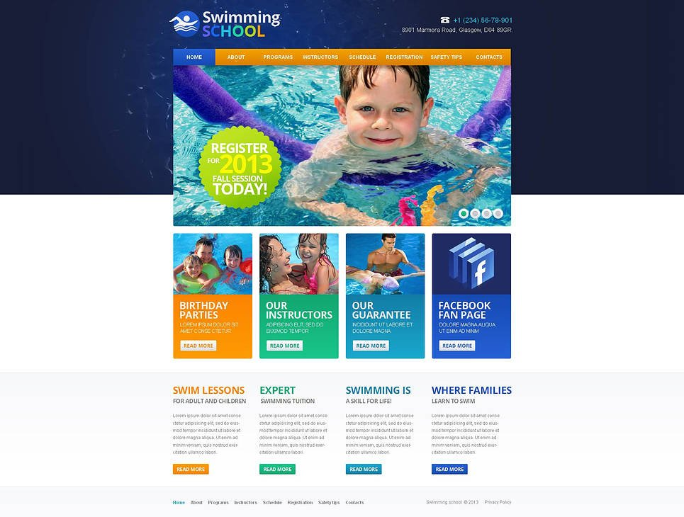 Colorful Website Template for Swimming Schools - image