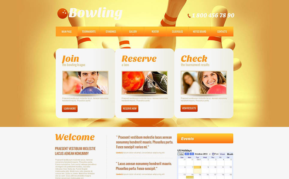 Premium Moto CMS HTML Template over Bowling  New Screenshots BIG