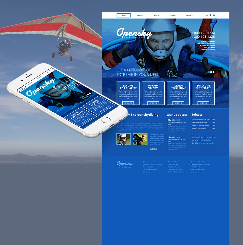 Blue Web Template for Skydiving Clubs - image